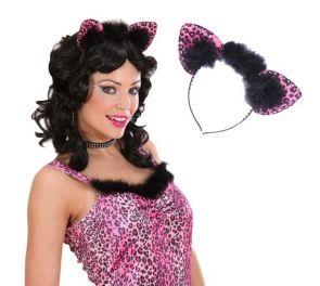 Pinkki leopardin korvapanta strasseilla