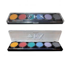Pastelli-sävyisiä kasvo- ja vartalomaaleja 6 värin paletissa