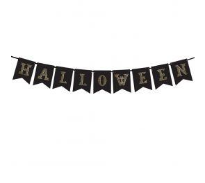 Musta Halloween-banneri kultaisin kirjaimin