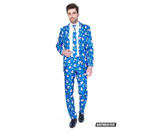 Sininen puku, jossa ihania lumiukkoja ja lahjapaketteja