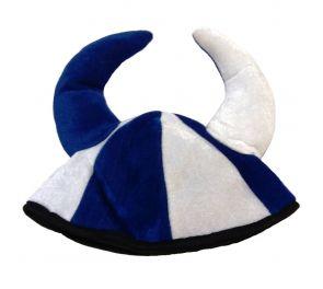 Sinivalkoinen viikinkihattu, hyvä kannatustuote urheilukisoihin!