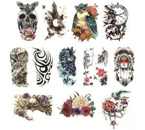 Värikkäät, kuviolliset tatuoinnit iholle