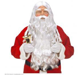 Joulupukin parta- ja peruukkisetti kulmakarvoilla