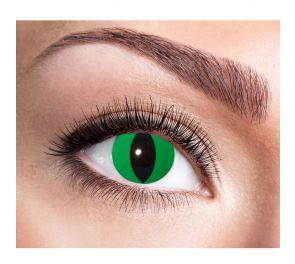 Vihreät piilolinssit mustalla käärmeen pupillilla