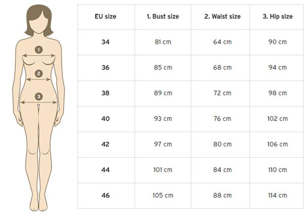 Naisten OppoSuits-asujen mittataulukko